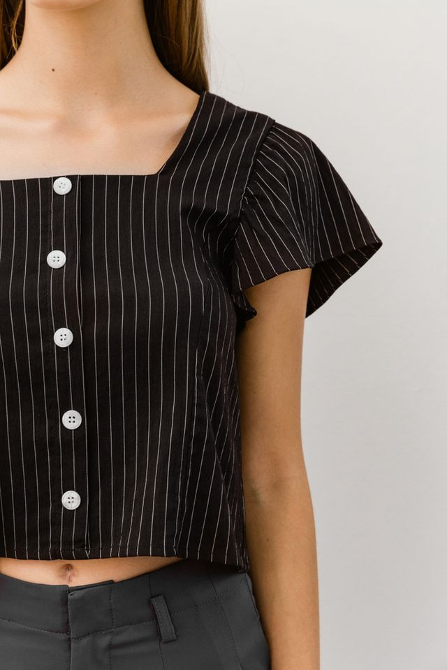Neoma Striped Button Crop Top in Black