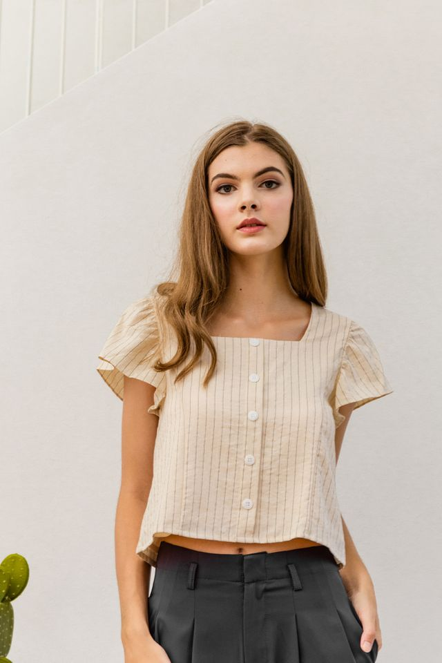 Neoma Striped Button Crop Top in Light Khaki