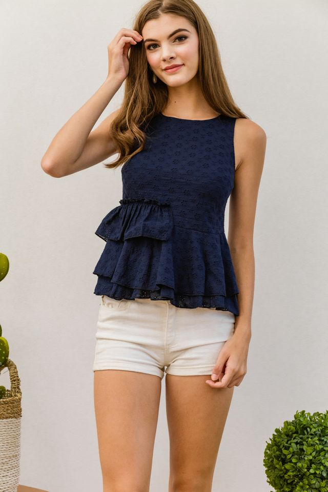 Aeliana Eyelet Ruffled Top in Navy (XL)