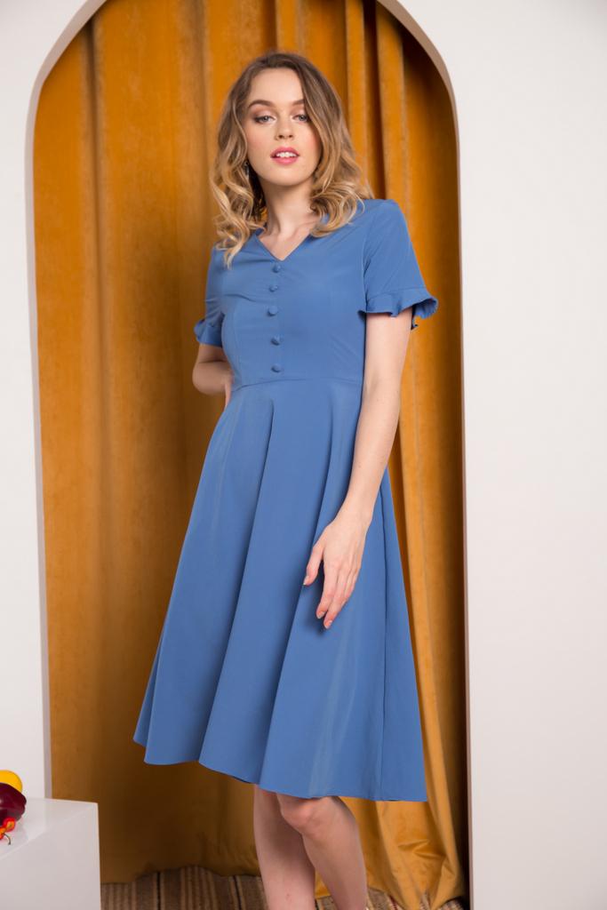 bdf7fc185d1d Jory Button Ruffles Midi Dress in True Blue