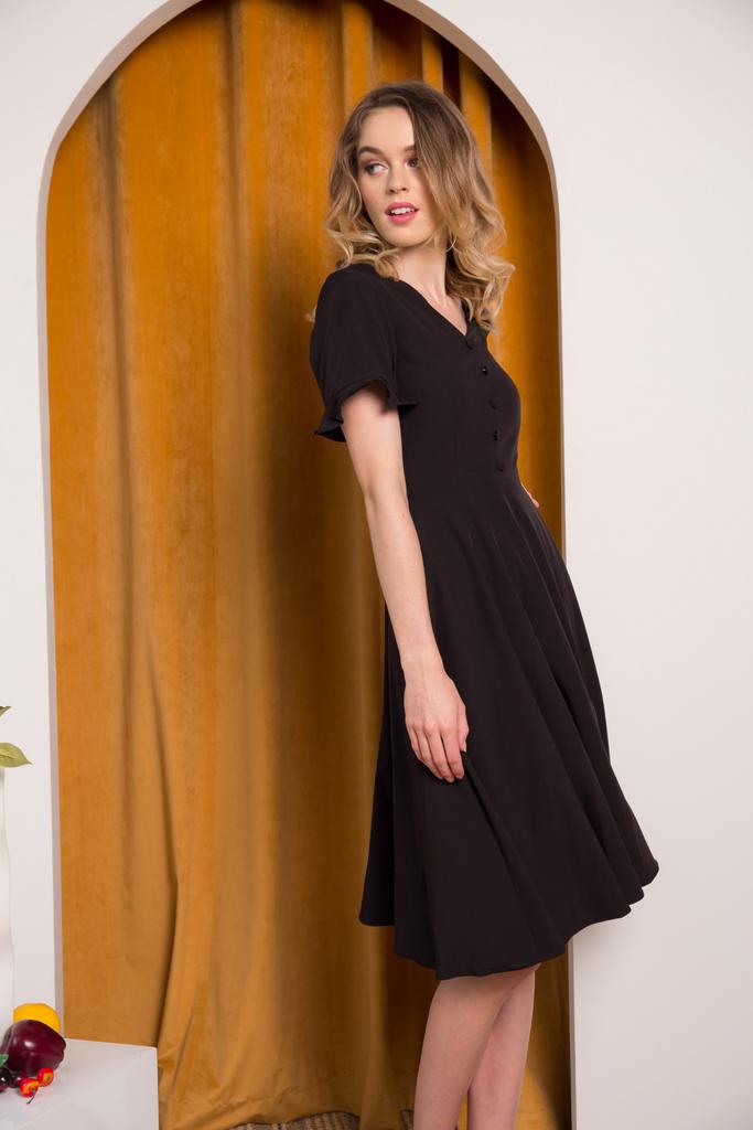 017531d91054 Jory Button Ruffles Midi Dress in Black