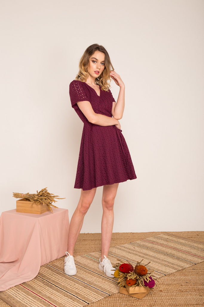 Ginny Eyelet Skater Dress in Plum 1e256e599