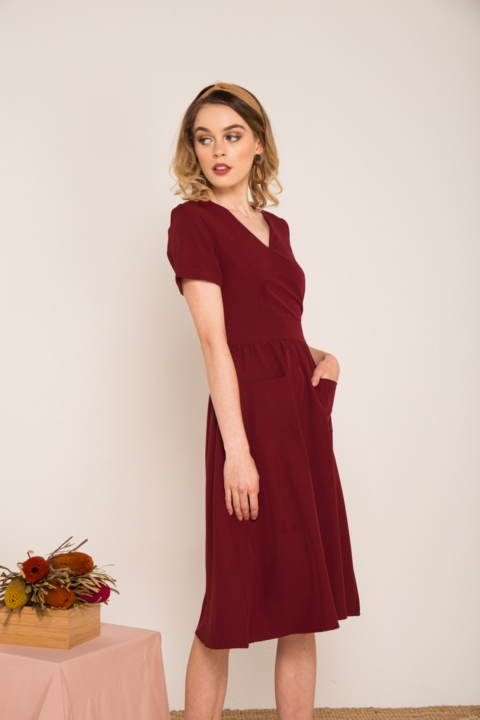 83f1bd8b5288 Carlyle Faux Wrap Midi Dress in Wine Red