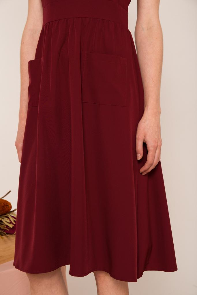 83f1bd8b5288 Carlyle Faux Wrap Midi Dress in Wine Red