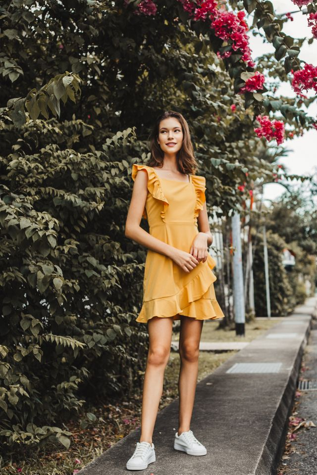 Aleta Asymmetrical Ruffles Dress in Mustard
