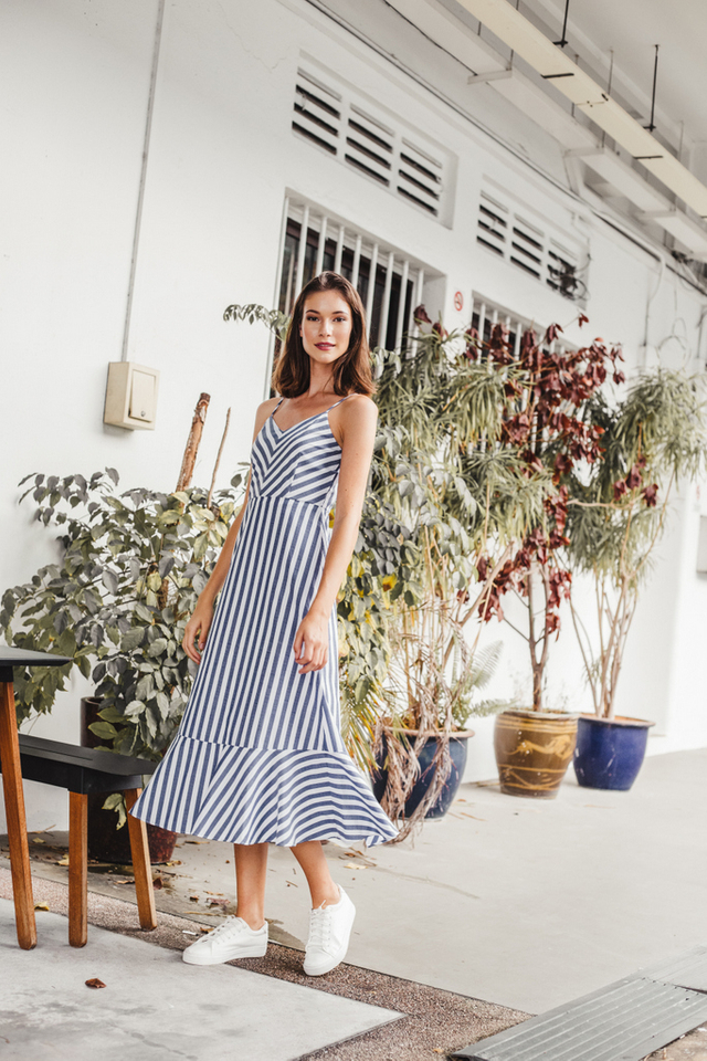 Annamarie Striped Ruffles Maxi Dress in Hale Navy