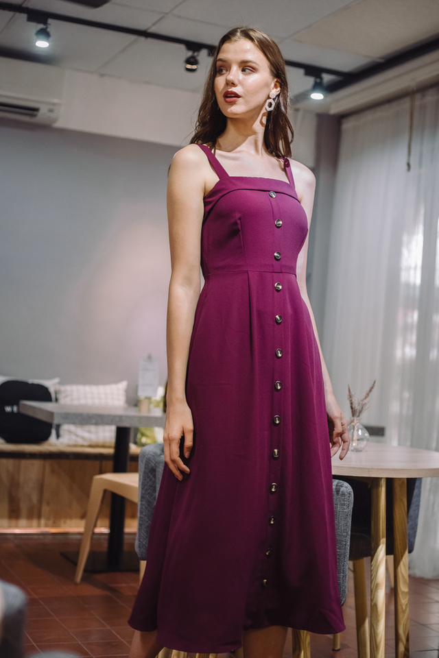 Loretta Button Flare Maxi Dress in Magenta
