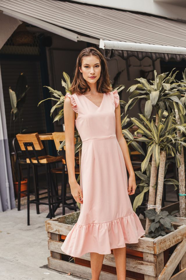 Cieon Ruffled Hem Midi Dress in Peach Pink