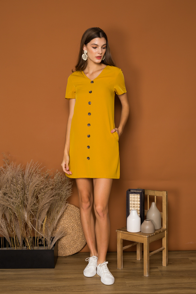 Beline Button Down Shift Dress in Mustard