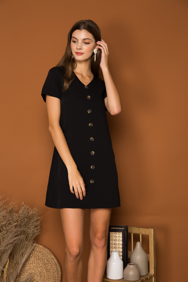 Beline Button Down Shift Dress in Black