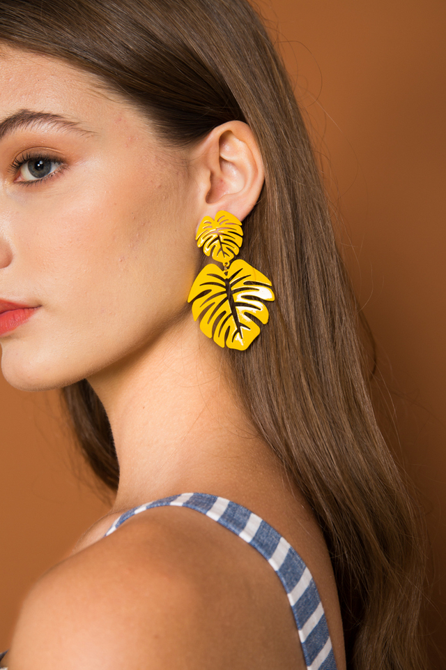 Aeron Leaf Earrings in Mustard