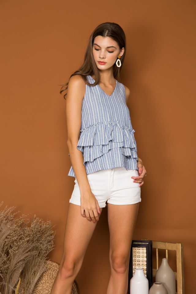 Parmenia Striped Ruffles Top in Blue (XL)