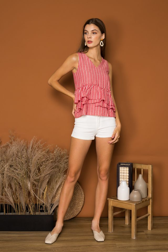 Parmenia Striped Ruffles Top in Red
