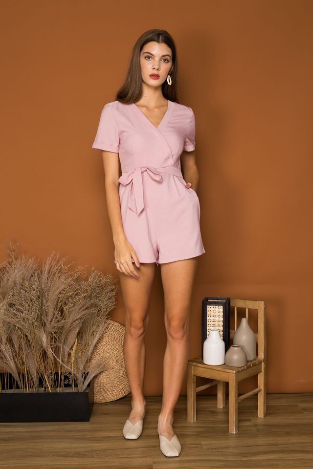 Katelle Faux Wrap Basic Romper in Dusty Pink