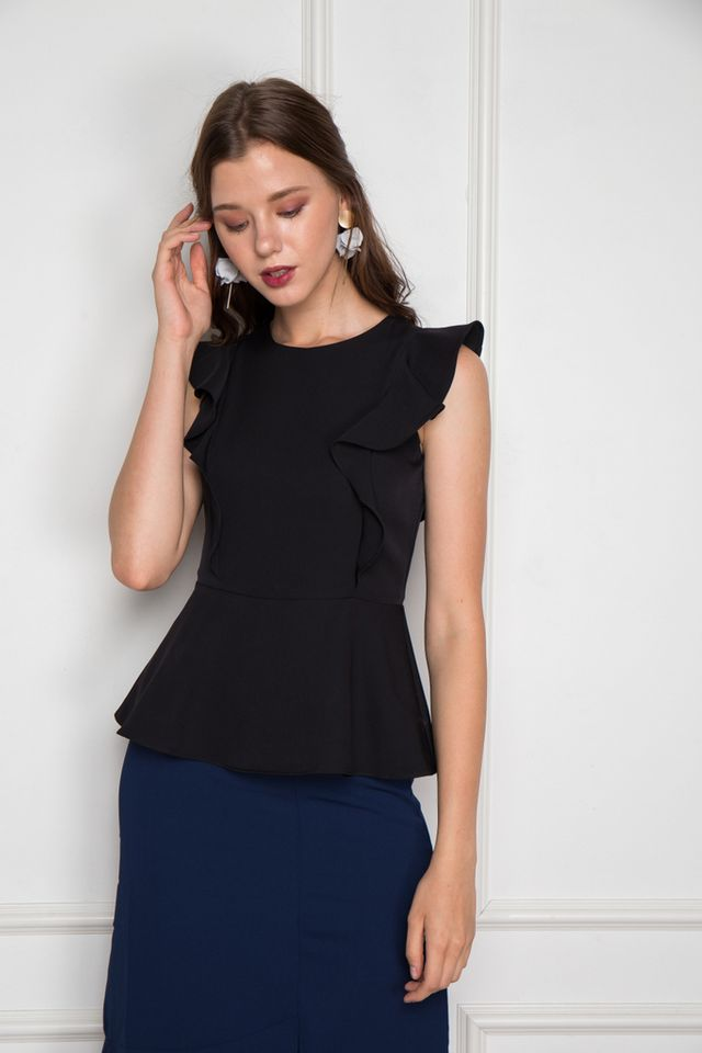 Salma Ruffled Peplum Top in Black (M)