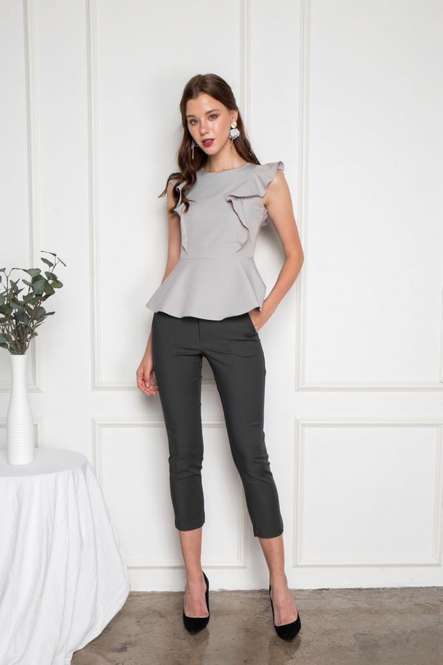Salma Ruffled Peplum Top in Grey