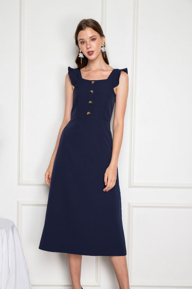Alyce Ruffles Button Maxi Dress in Navy