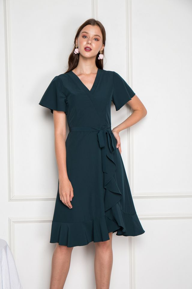 Miah Faux Wrap Ruffles Midi Dress in Teal