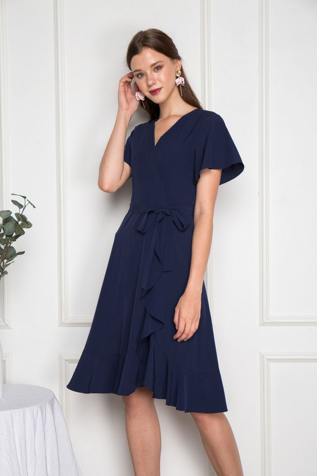 Miah Faux Wrap Ruffles Midi Dress in Navy (XS)