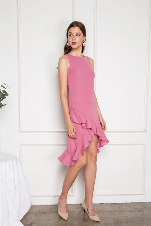 Jasmin Asymmetrical Ruffles Midi Dress in Pink (XS)