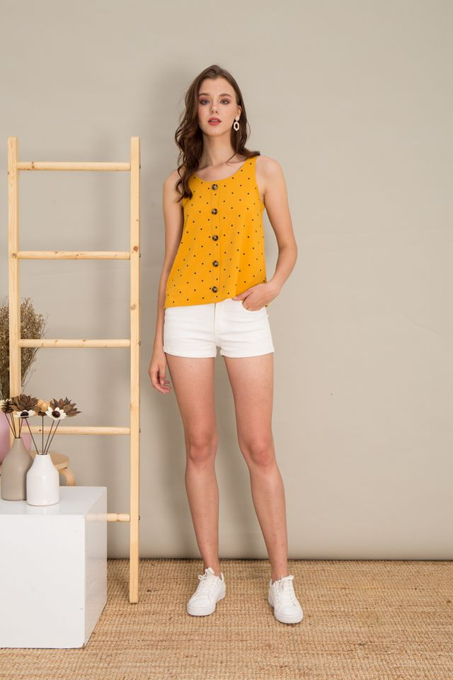 Jacey Polka Dot Button Top in Mustard