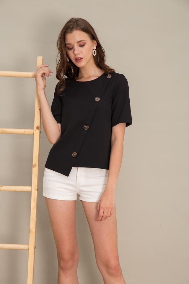 Taniya Asymmetrical Button Top in Black (XS)