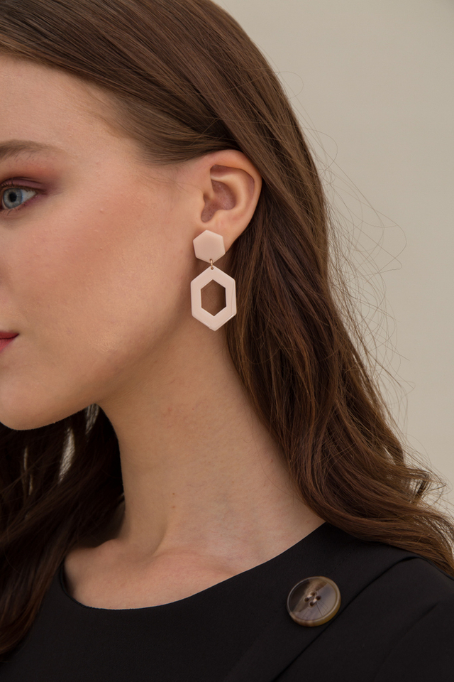 Janiya Geometric Earrings in Dusty Pink