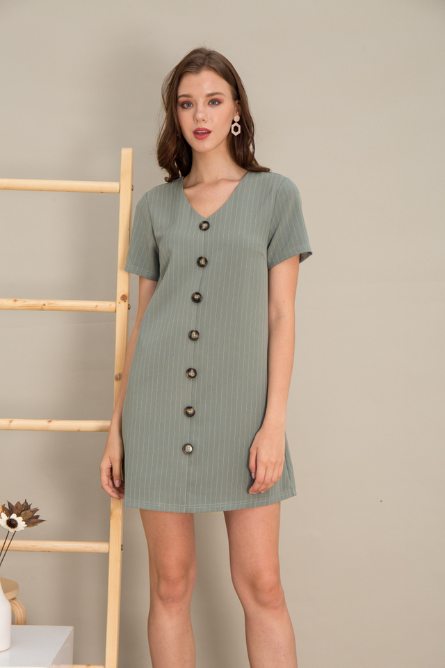 Kareena Striped Button Shift Dress in Seafoam