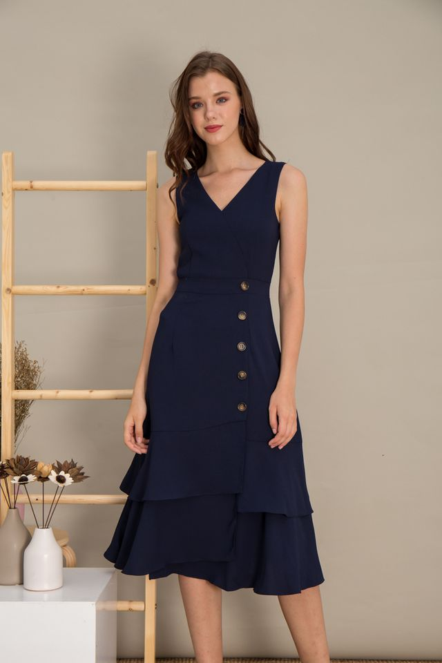 Rochelle Asymmetrical Ruffles Maxi Dress in Navy (XS)