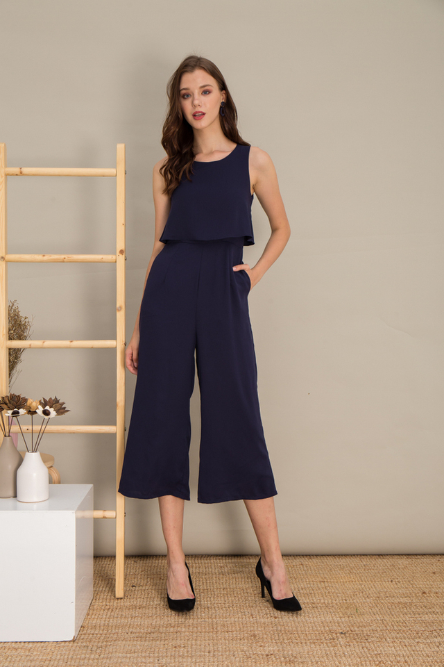 Uriela Layered Wide Leg Jumpsuit in Navy