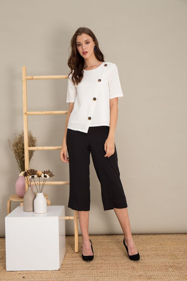 Taniya Asymmetrical Button Top in White (S)