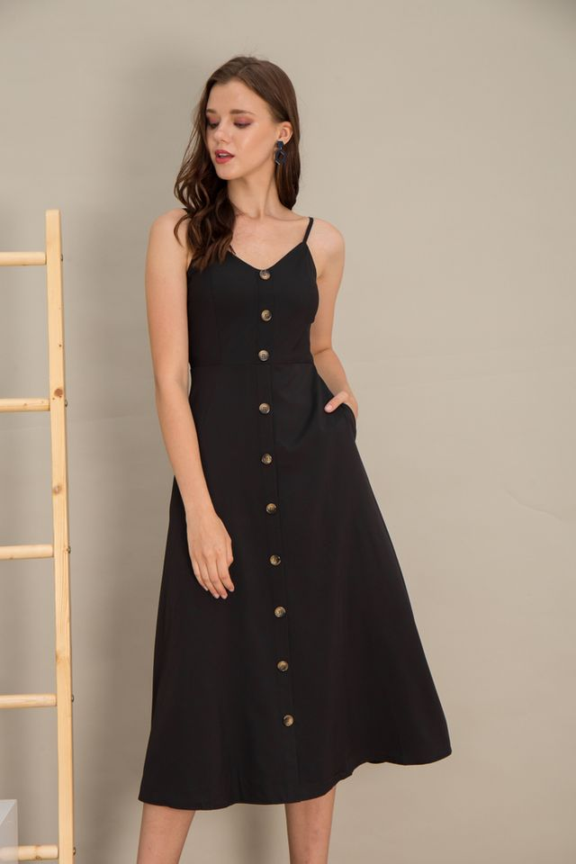 Madelaine Button Maxi Dress in Black (XS)