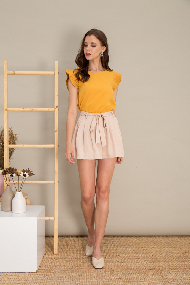 Kiara Pleated Sleeve Top in Mustard