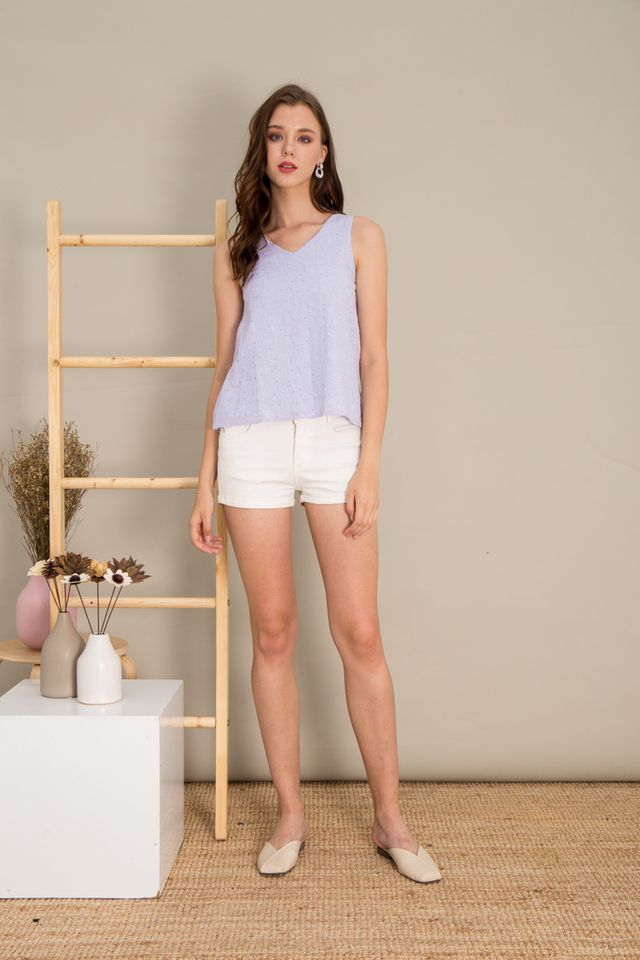 Maci Ice Cream Eyelet Top in Periwinkle (XL)