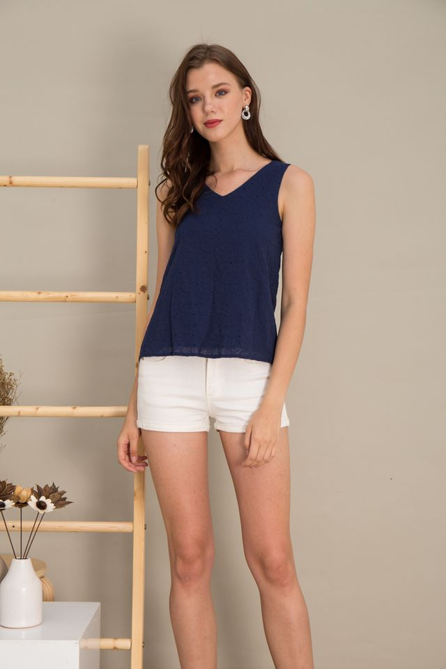 Maci Ice Cream Eyelet Top in Navy