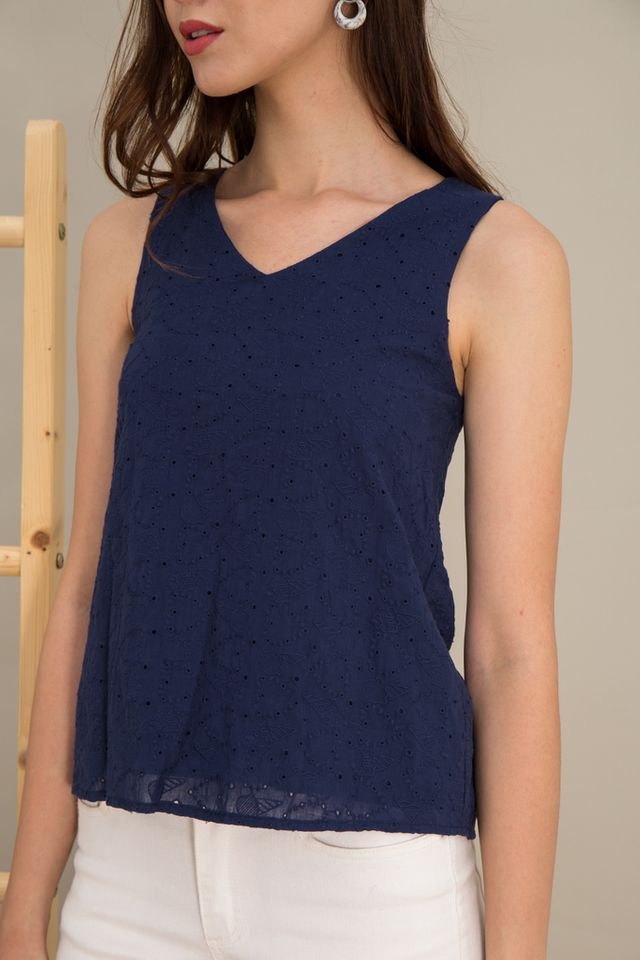 Maci Ice Cream Eyelet Top in Navy (XL)
