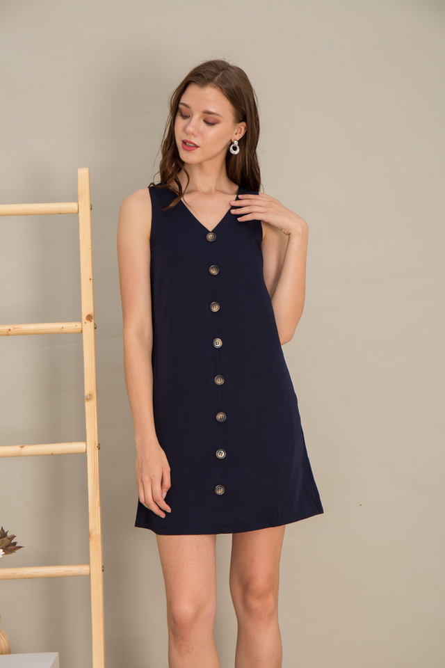 Jazmyn Button Shift Dress in Navy
