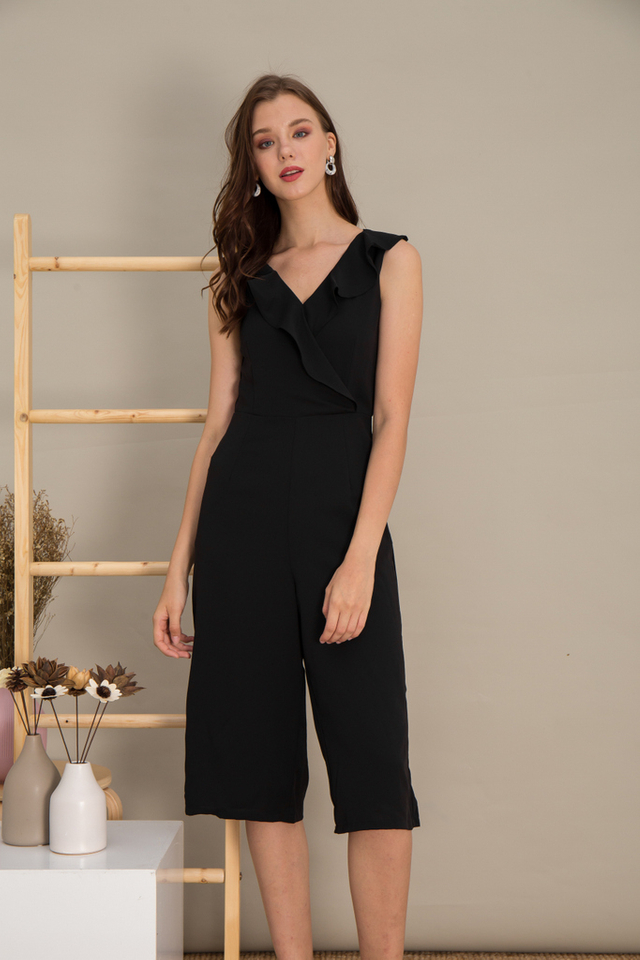 Karlee Faux Wrap Ruffles Jumpsuit in Black
