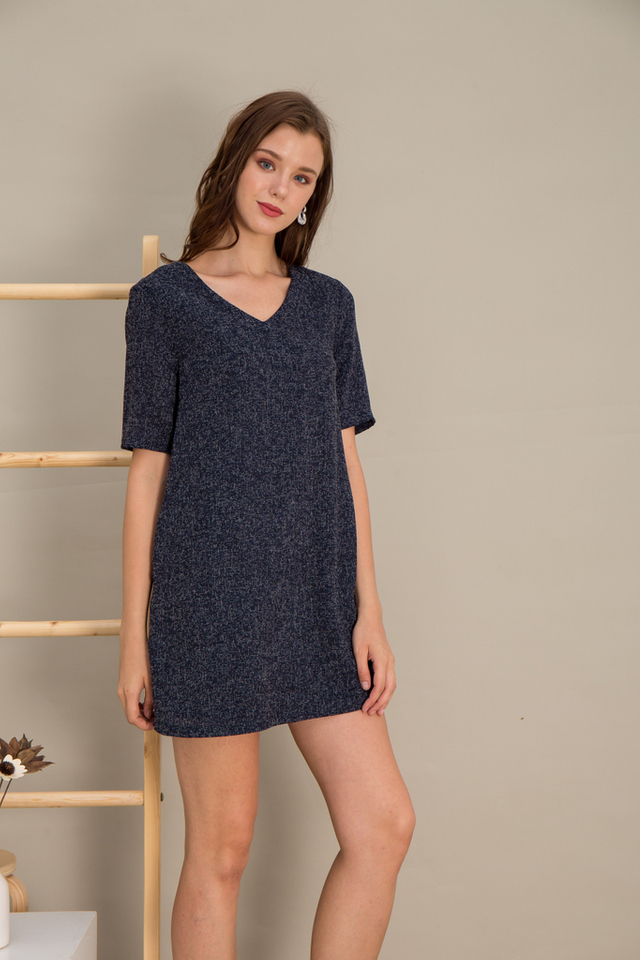 Alyvia Tweed Shift Dress in Navy