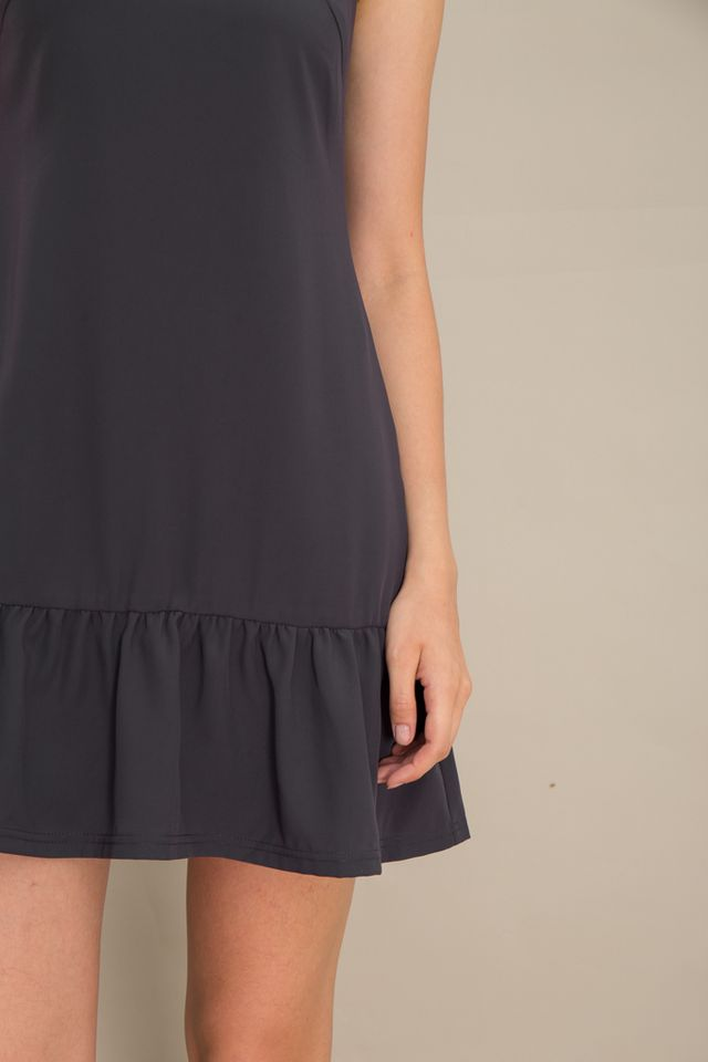 Emely Basic Dropwaist Dress in Slate Grey (XS)