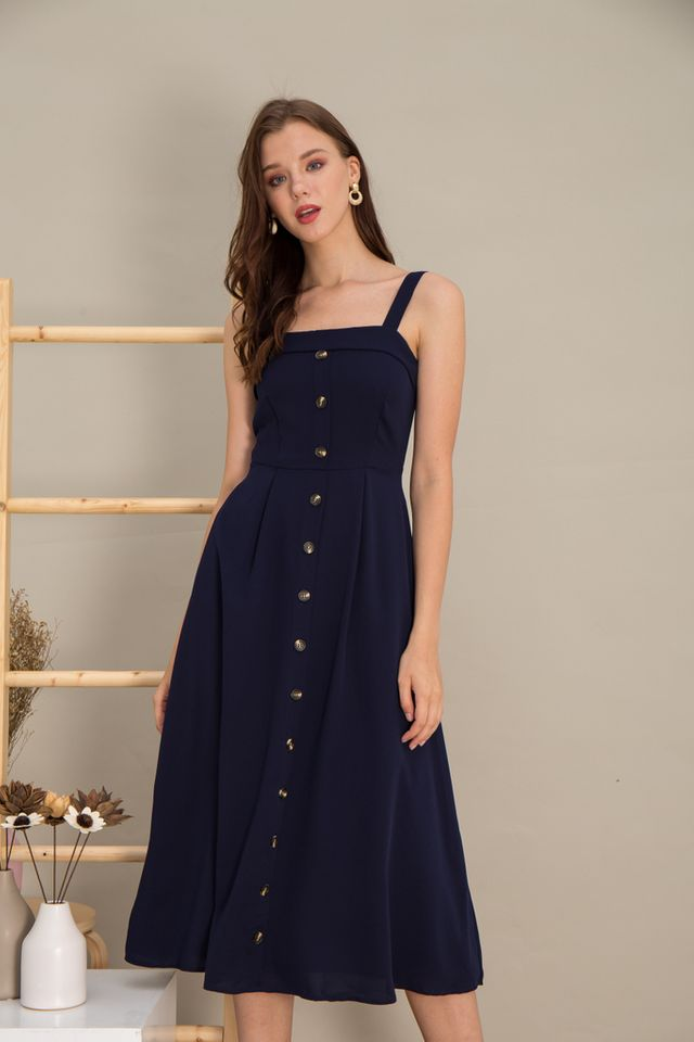 Loretta Button Flare Maxi Dress in Navy (L)