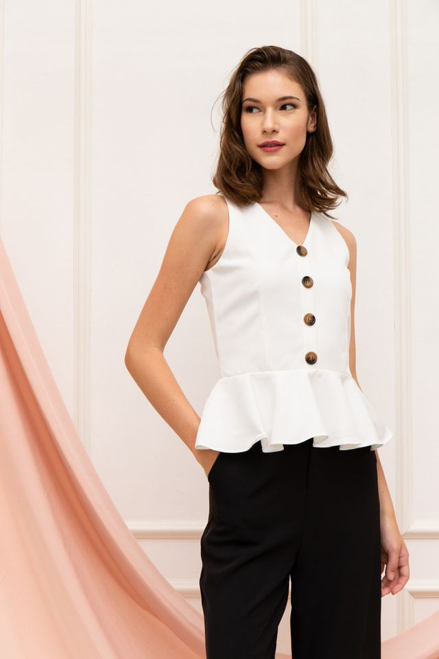 Wendi Button Peplum Top in White