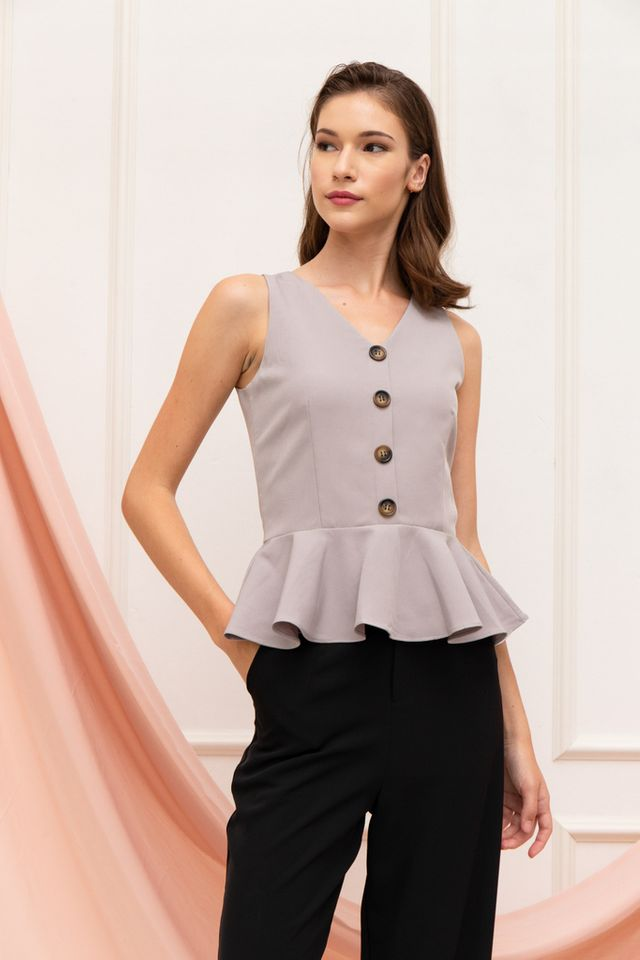 Wendi Button Peplum Top in Grey