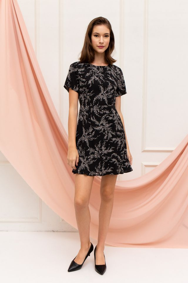 Junia Leaf Sheath Dress in Black
