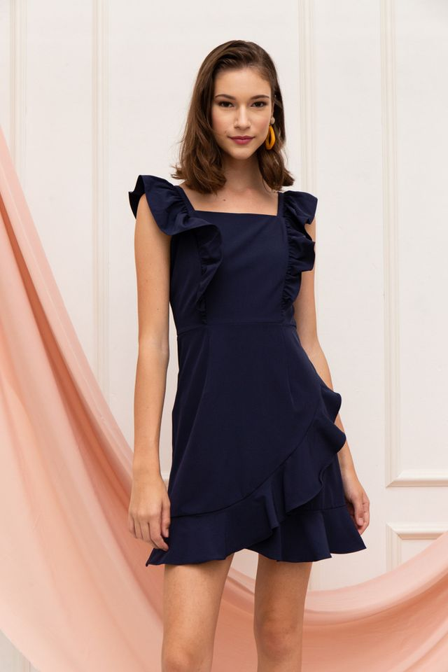 Aleta Asymmetrical Ruffles Dress in Navy