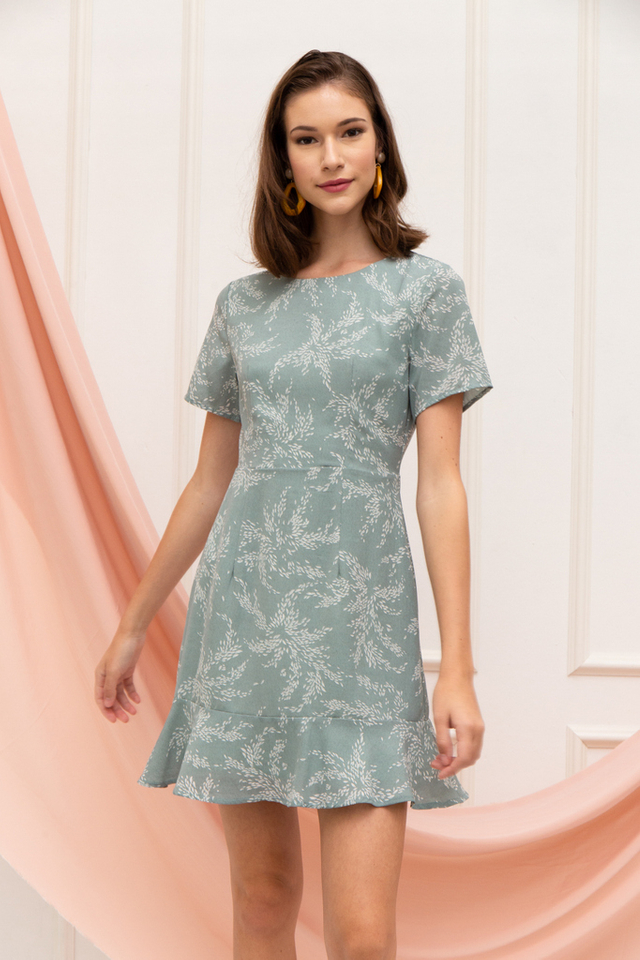 Junia Leaf Sheath Dress in Mint