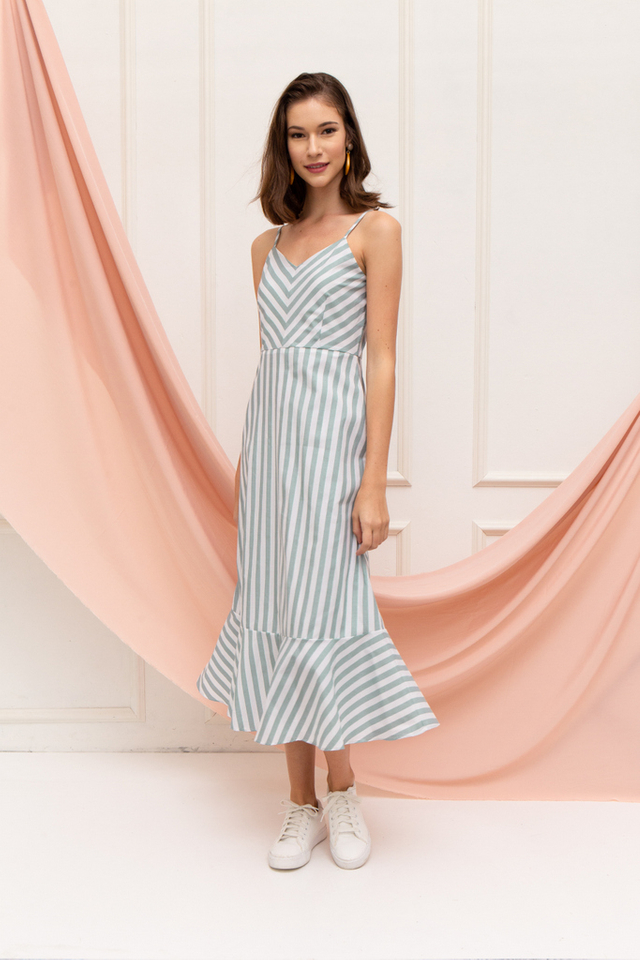 Annamarie Striped Ruffles Maxi Dress in Green