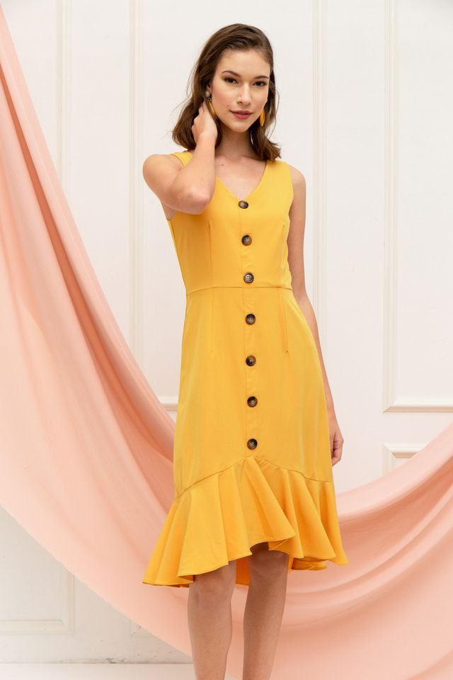 Chelsy Button Ruffles Midi Dress in Mustard