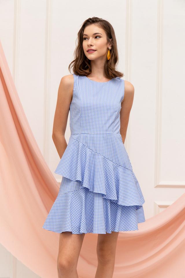 Loella Gingham Ruffles Dress in Blue