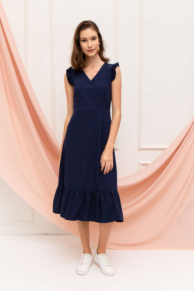 Cieon Ruffled Hem Midi Dress in Navy